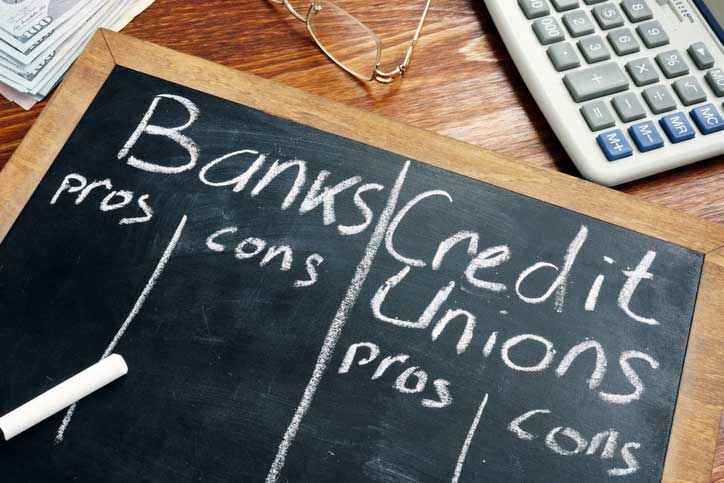 Pros and cons on a chalk board for banks and credit unions
