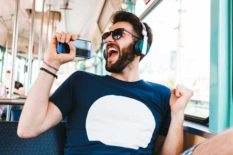Man having fun on the train