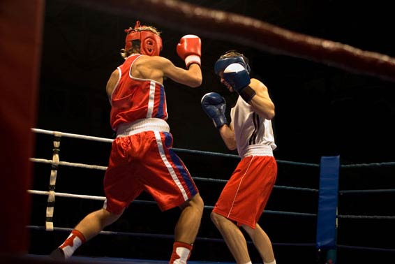 Boxers in the ring during a match